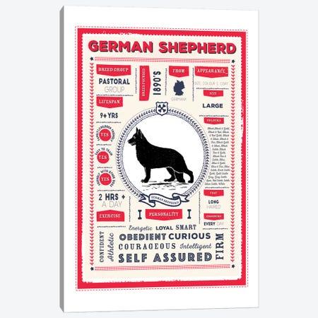 German Shepherd Infographic Red Canvas Print #PPX225} by PaperPaintPixels Canvas Art Print