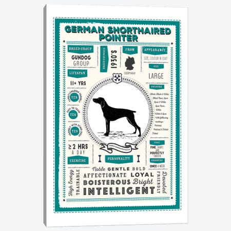 German Short Haired Pointer Infographic Blue Canvas Print #PPX226} by PaperPaintPixels Canvas Art Print