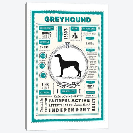 Greyhound Infographic Blue Canvas Print #PPX229} by PaperPaintPixels Canvas Wall Art