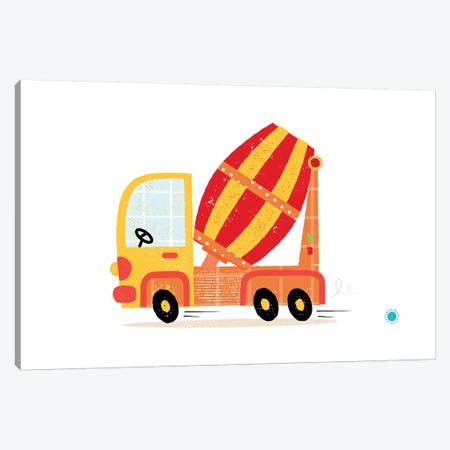 Cement Mixer Canvas Print #PPX22} by PaperPaintPixels Canvas Wall Art