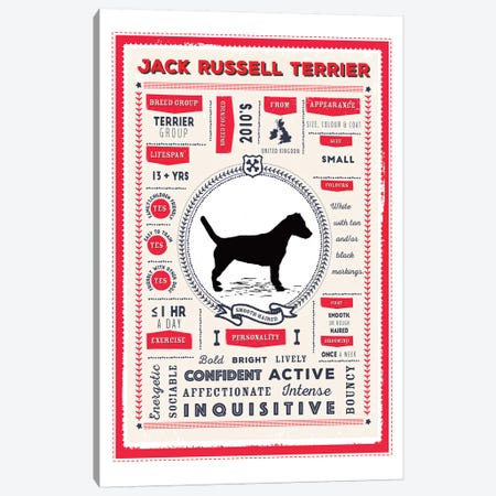 Jack Russel - Smooth Coated Infographic Red 3-Piece Canvas #PPX233} by PaperPaintPixels Art Print