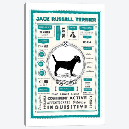Jack Russell - Rough Haired Infographic Blue 3-Piece Canvas #PPX234} by PaperPaintPixels Canvas Wall Art