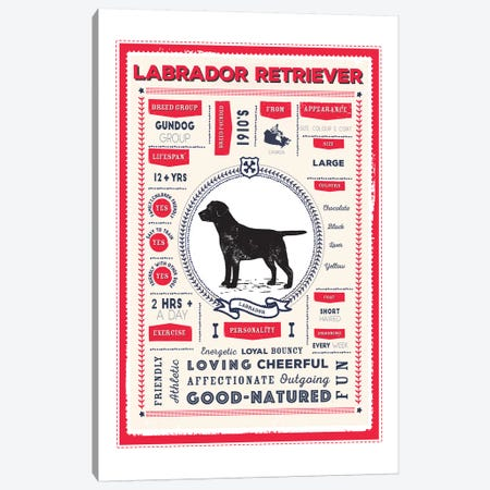 Labrador Retriever Infographic Red Canvas Print #PPX236} by PaperPaintPixels Canvas Artwork