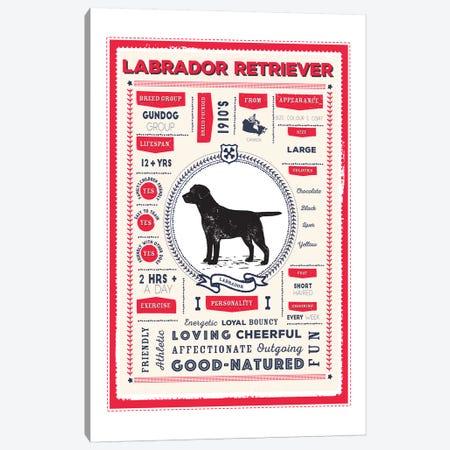 Labrador Retriever Infographic Red Canvas Print #PPX236} by PaperPaintPixels Canvas Artwork