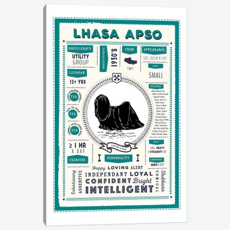 Lhasa Apso Infographic Blue Canvas Print #PPX237} by PaperPaintPixels Canvas Wall Art