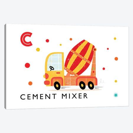 C Is For Cement Mixer Canvas Print #PPX23} by PaperPaintPixels Canvas Artwork