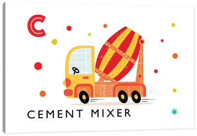 C Is For Cement Mixer Canvas Art Print