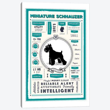 Miniature Schnauzer Infographic Blue Canvas Print #PPX241} by PaperPaintPixels Canvas Artwork