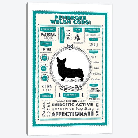 Pembroke Welsh Corgi Infographic Blue Canvas Print #PPX244} by PaperPaintPixels Canvas Art Print
