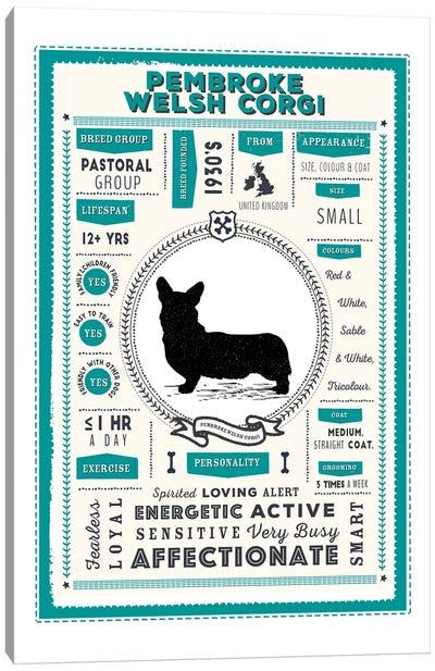 Pembroke Welsh Corgi Infographic Blue Canvas Art Print