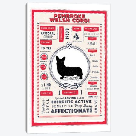 Pembroke Welsh Corgi Infographic Red Canvas Print #PPX245} by PaperPaintPixels Canvas Print