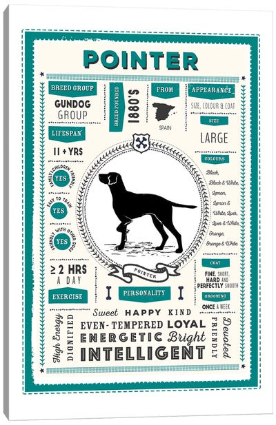 Pointer Infographic Blue Canvas Art Print