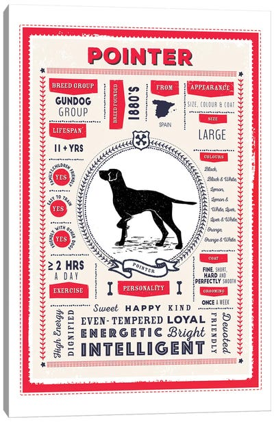 Pointer Infographic Red Canvas Art Print