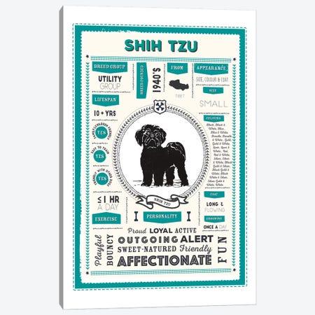 Shih Tzu Infographic Blue Canvas Print #PPX252} by PaperPaintPixels Canvas Print