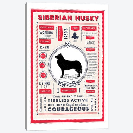 Siberian Husky Infographic Red Canvas Print #PPX255} by PaperPaintPixels Canvas Art