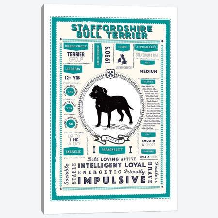 Staffordshire Bull Terrier Infographic Blue 3-Piece Canvas #PPX258} by PaperPaintPixels Canvas Art Print