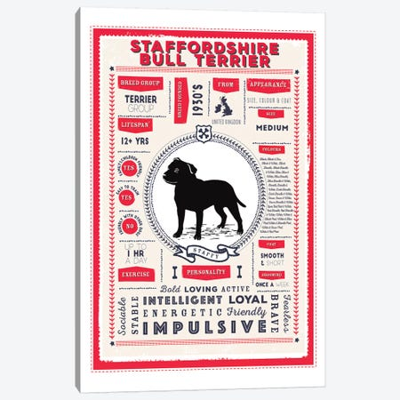 Staffordshire Bull Terrier Infographic Red 3-Piece Canvas #PPX259} by PaperPaintPixels Art Print