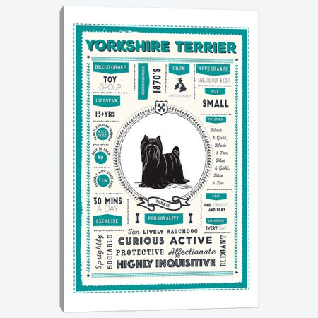 Yorkshire Terrier Infographic Blue Canvas Print #PPX266} by PaperPaintPixels Canvas Print
