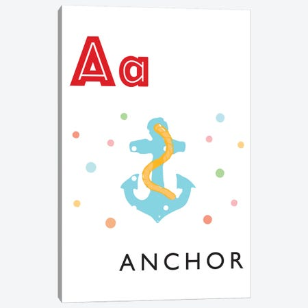 Illustrated Alphabet Flash Cards - A Canvas Print #PPX268} by PaperPaintPixels Canvas Wall Art