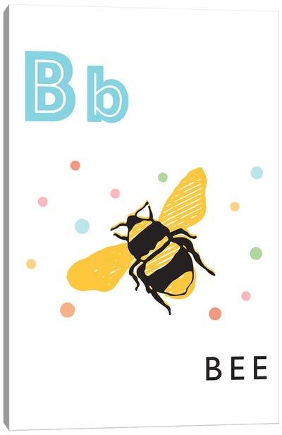 Illustrated Alphabet Flash Cards - B Canvas Art Print
