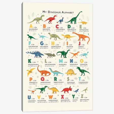 Dinosaur Alphabet Canvas Print #PPX26} by PaperPaintPixels Canvas Art Print