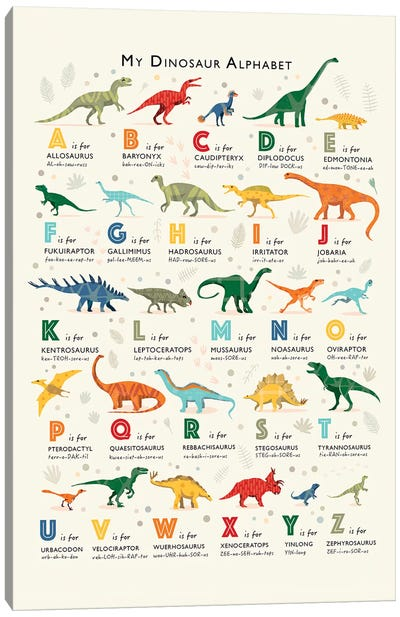 Dinosaur Alphabet Canvas Art Print