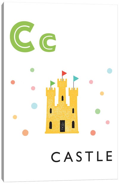 Illustrated Alphabet Flash Cards - C Canvas Art Print