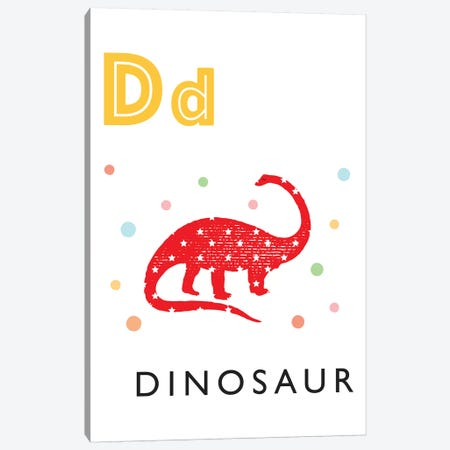 Illustrated Alphabet Flash Cards - D Canvas Print #PPX271} by PaperPaintPixels Art Print