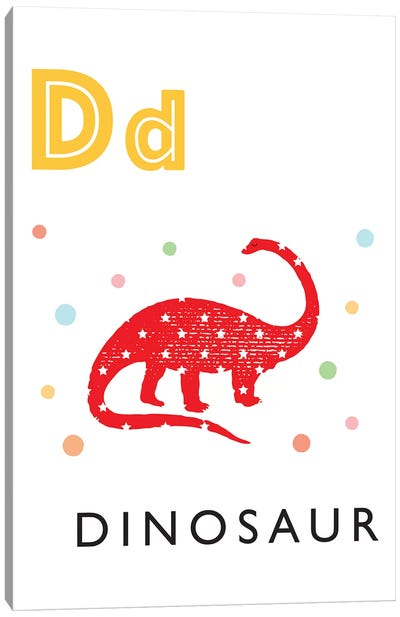 Illustrated Alphabet Flash Cards - D Canvas Art Print