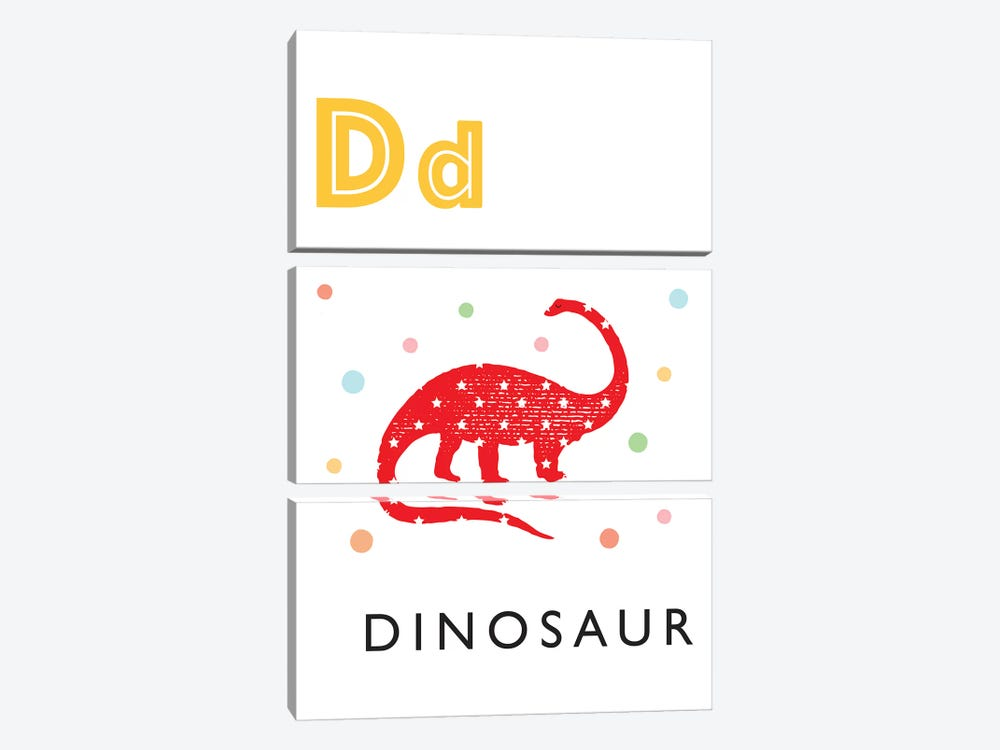 Illustrated Alphabet Flash Cards - D by PaperPaintPixels 3-piece Canvas Artwork