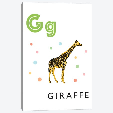 Illustrated Alphabet Flash Cards - G Canvas Print #PPX274} by PaperPaintPixels Canvas Artwork