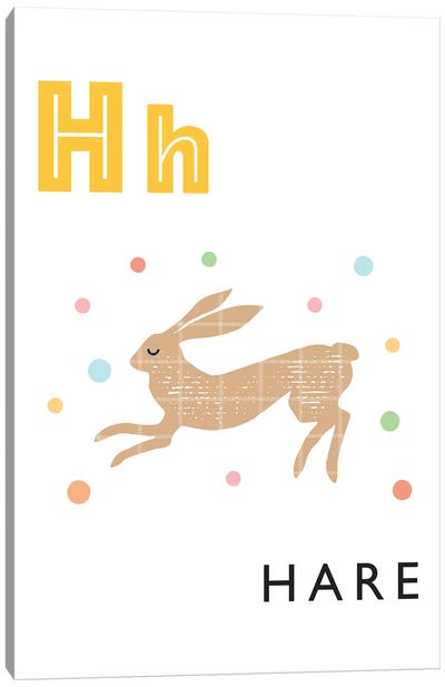 Illustrated Alphabet Flash Cards - H Canvas Art Print