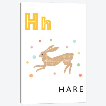Illustrated Alphabet Flash Cards - H Canvas Print #PPX275} by PaperPaintPixels Canvas Art