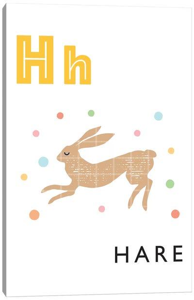 Illustrated Alphabet Flash Cards - H Canvas Art Print