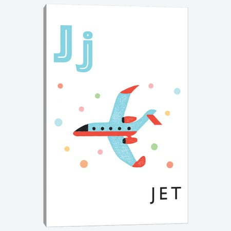 Illustrated Alphabet Flash Cards - J Canvas Print #PPX277} by PaperPaintPixels Canvas Artwork