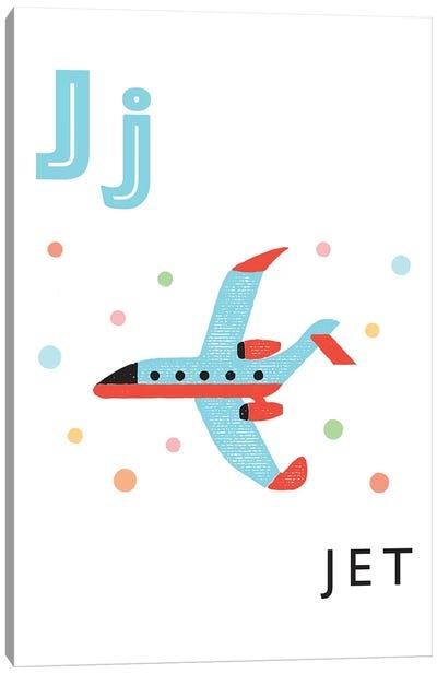 Illustrated Alphabet Flash Cards - J Canvas Art Print
