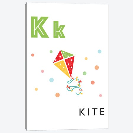 Illustrated Alphabet Flash Cards - K Canvas Print #PPX278} by PaperPaintPixels Canvas Print