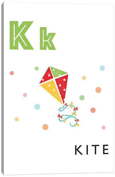 Illustrated Alphabet Flash Cards - K Canvas Art Print