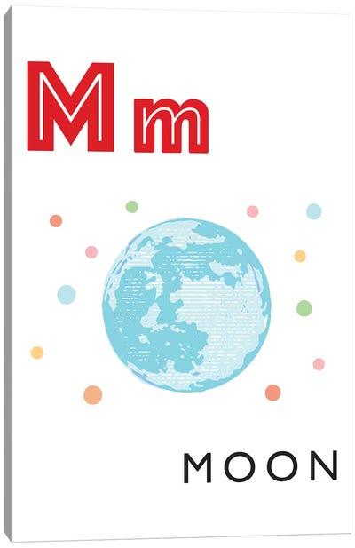 Illustrated Alphabet Flash Cards - M Canvas Art Print