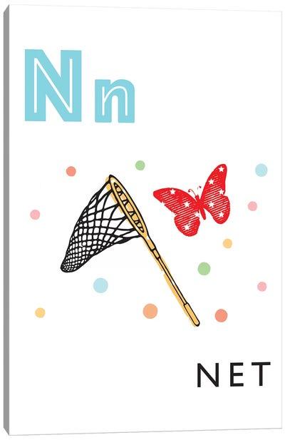 Illustrated Alphabet Flash Cards - N Canvas Art Print