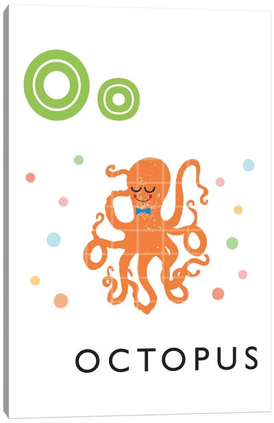 Illustrated Alphabet Flash Cards - O Canvas Art Print