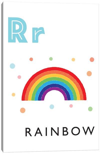 Illustrated Alphabet Flash Cards - R Canvas Art Print