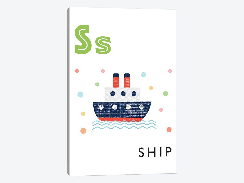 Illustrated Alphabet Flash Cards - S by PaperPaintPixels 1-piece Canvas Art