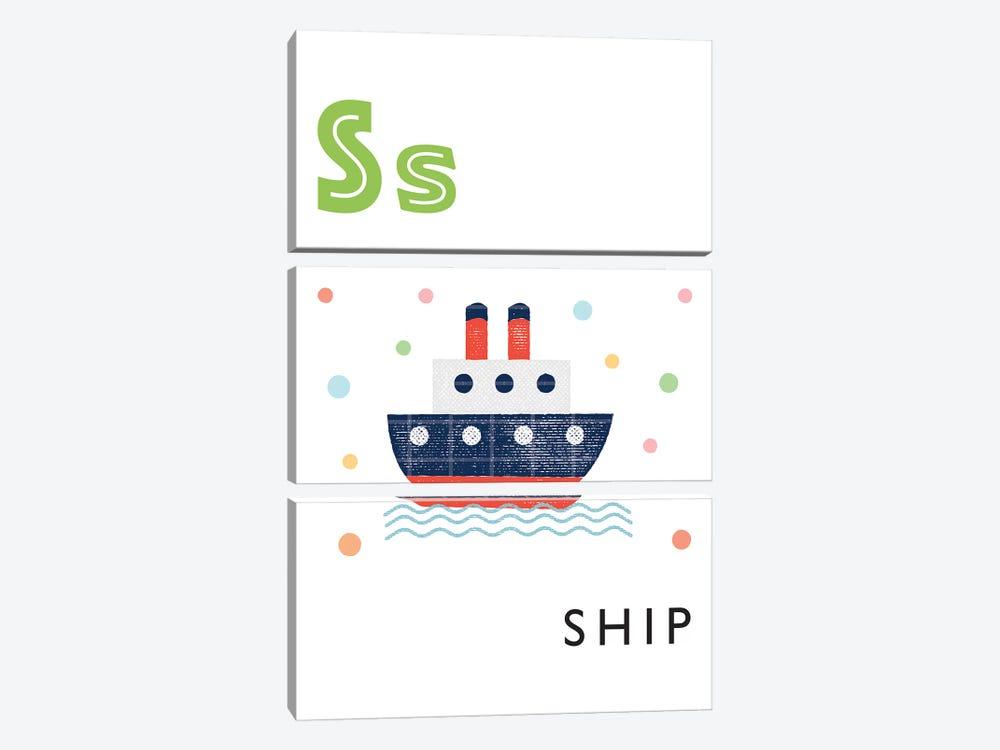 Illustrated Alphabet Flash Cards - S by PaperPaintPixels 3-piece Canvas Art