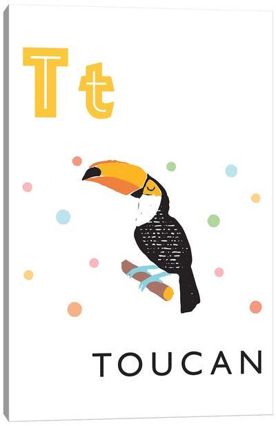 Illustrated Alphabet Flash Cards - T Canvas Art Print