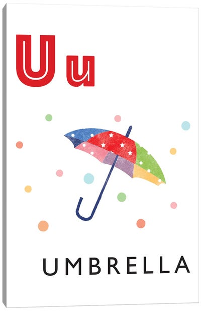 Illustrated Alphabet Flash Cards - U Canvas Art Print