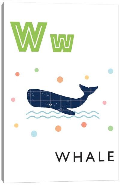 Illustrated Alphabet Flash Cards - W Canvas Art Print