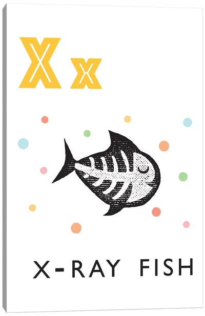 Illustrated Alphabet Flash Cards - X Canvas Art Print