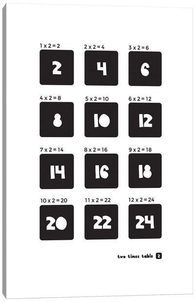 Black And White Times Tables - 2 Canvas Art Print