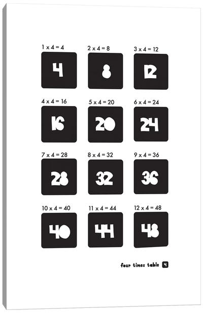 Black And White Times Tables - 4 Canvas Art Print
